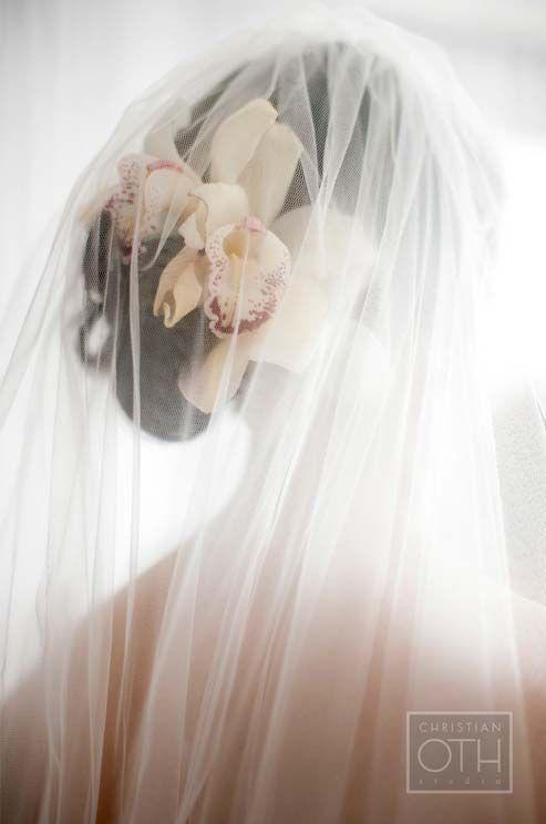 Image result for vintage hair wedding veil orchids