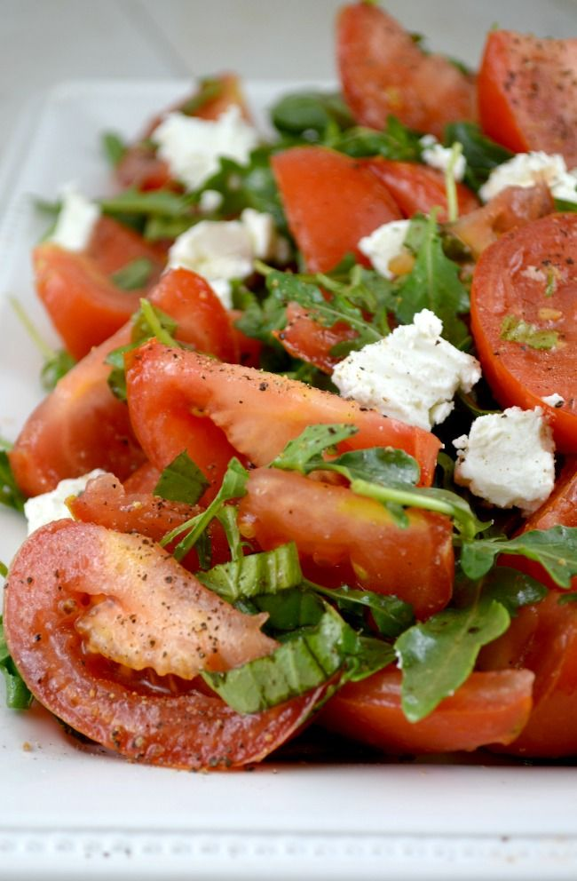 Marinated Tomato Salad with Arugula, Basil and Chevre. A Perfect Taste of Summer!!!