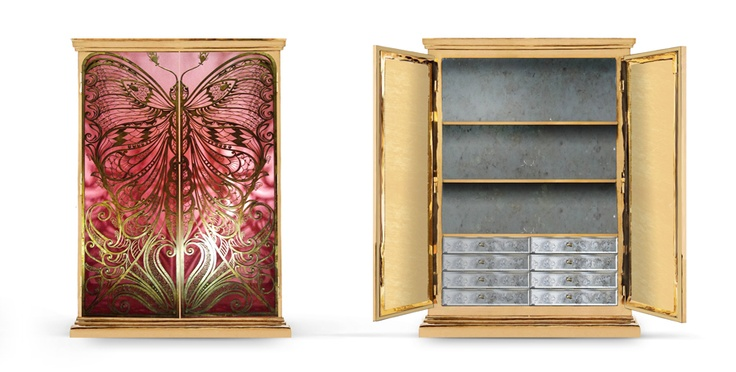 Mademoiselle Armoire by KOKET | Designed with a profound admiration and influence of the French decorative arts, the Mademoiselle Armoire will transport you to another world in a crazy beautiful kind of way.  #armoire #butterflyfurniture #interiordesign http://www.bykoket.com/guilty-pleasures/casegoods/mademoiselle-armoire.php