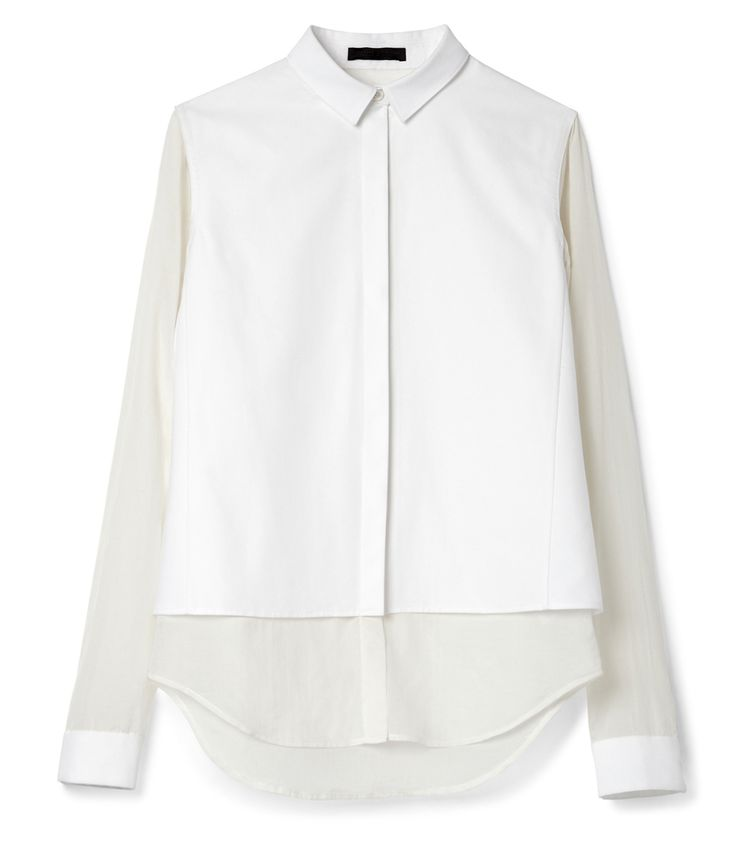 Trending Now: Understated Elegance at #ShopBAZAAR: The Row Voile Blouse with Shirt Tail
