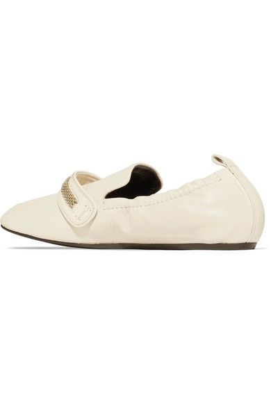Lanvin - Chain-trimmed Leather Loafers - Neutral - IT36.5