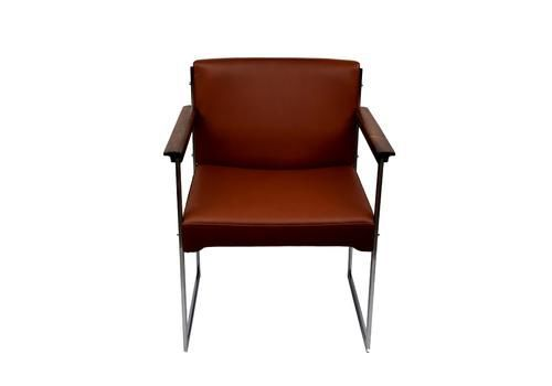 A Rosewood/Chrome Metal Armchair By Illum Wikkelsø, Aniline Leather   vinterior.co