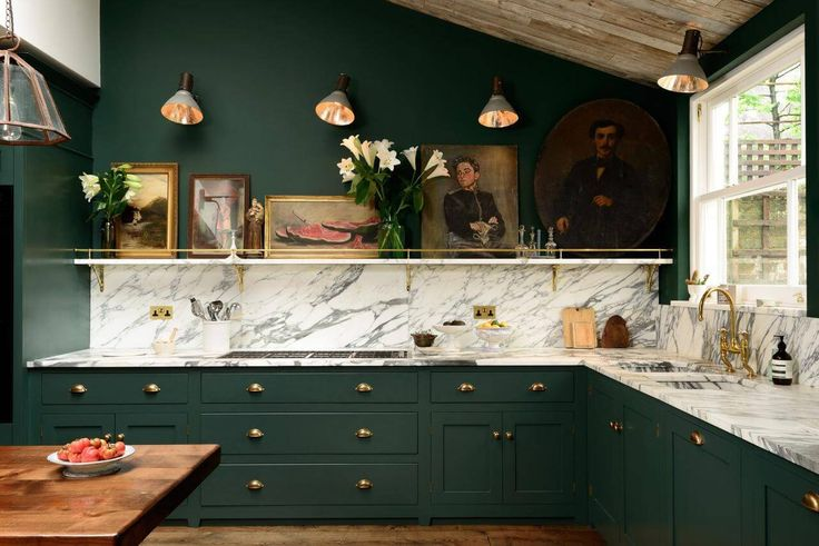 Die 97 besten Bilder zu dark green wall auf Pinterest Wandfarben - küche mit dachschräge planen