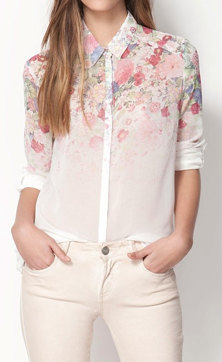 Sheer floral blouse. I could add this to my collection.