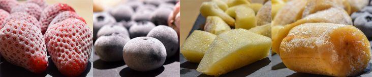 Fresas, arándanos, manzana y plátano congelados para hacer el helado saludable http://biografiadeunplato.com/receta-de-helado-saludable/