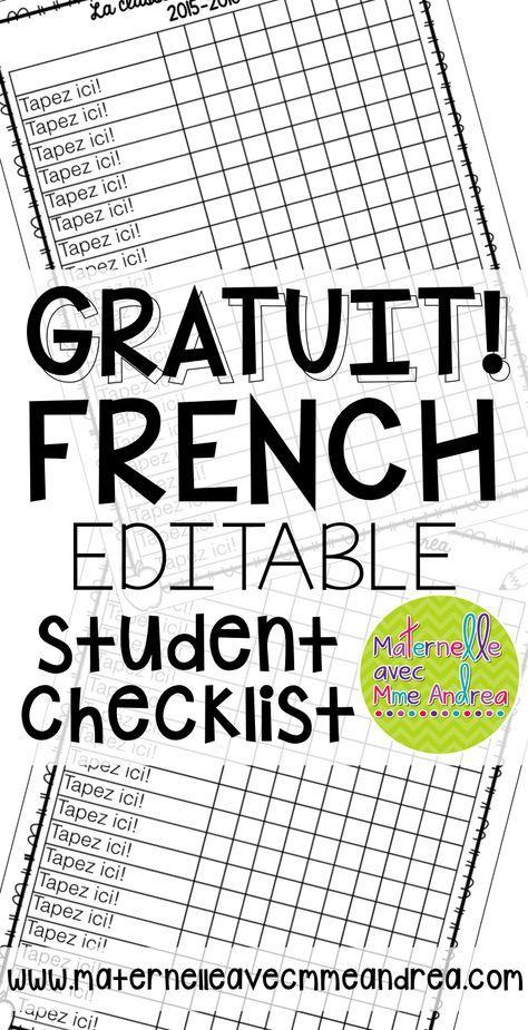 FREE Editable student checklist template | GRATUIT