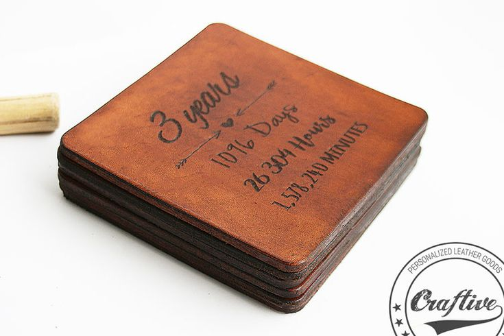 Leather Anniversary Coasters * Third Anniversary * 3rd Anniversary