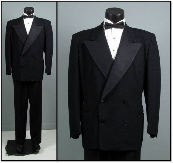 Vintage Mens Suit 1940s Tuxedo 4 on 2 DOUBLE BREASTED Peaked Lapel Black Wool Two Piece Mens Vintage Tux Dinner Suit 46