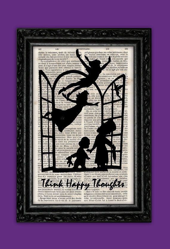 Peter Pan Silhouette Happy Thoughts Art Print  by ThePurpleHamster, €7.00