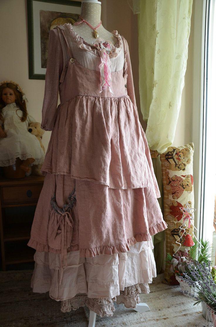 tr gerkleid kleid robe dress les ours rose lin leinen lagenlook rar kittelsch rze. Black Bedroom Furniture Sets. Home Design Ideas