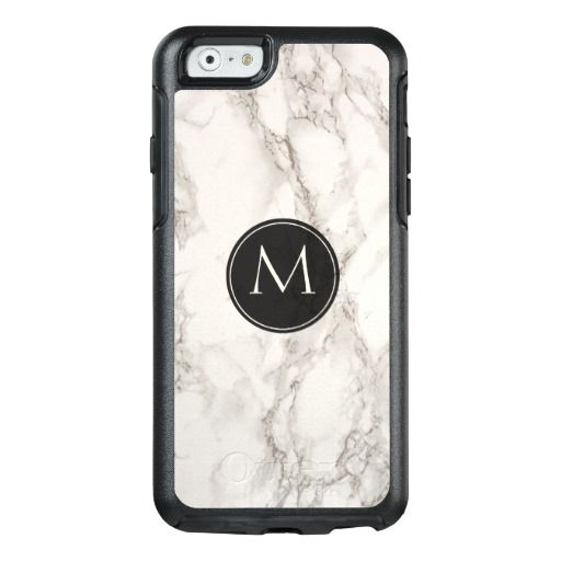 Marble design trendy black frame monogram Otterbox iPhone case for your device, makes a special and unique gift!