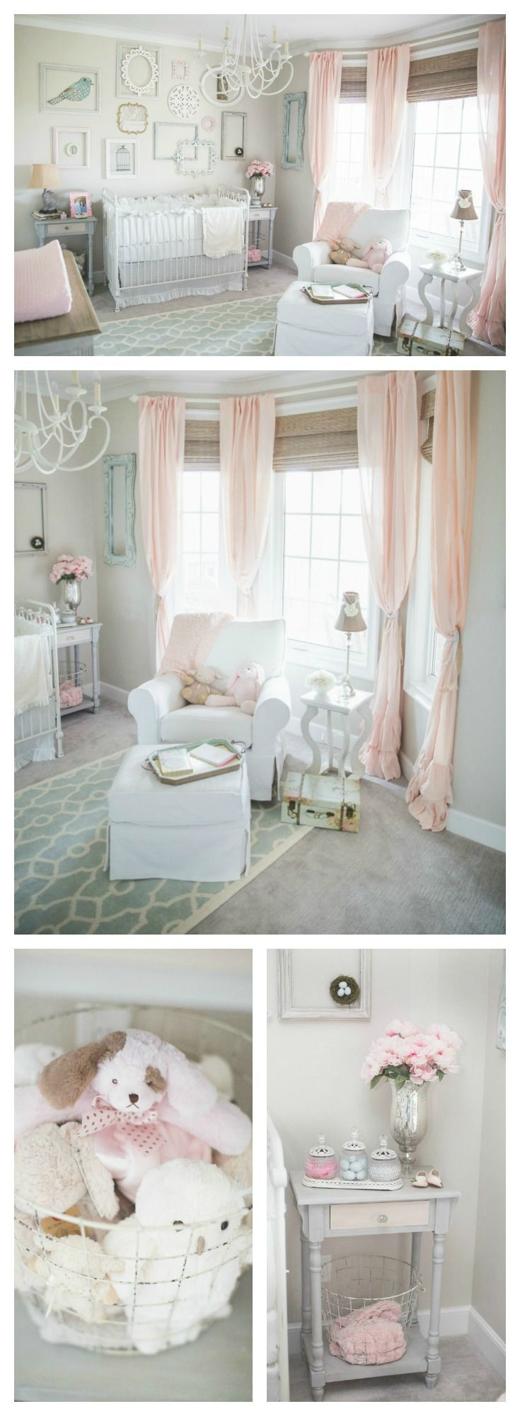 Pink and gray shabby chic nursery - love the soft and sweet details of this baby room! www.homeology.co.za