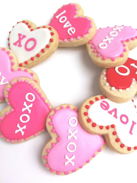 VALENTINE'S DAY LOVE Heart Cookies 3 4 cookies by SunshineBakes