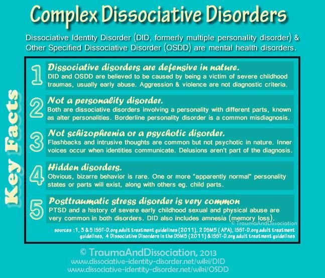 dissociative disorder Dissociative identity disorder (did) (known in the past as multiple personality disorder-mpd) and other dissociative disorders are now understood to be fairly common.