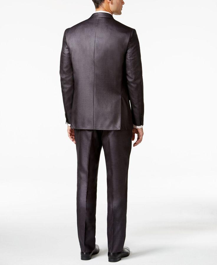 Kenneth Cole Reaction Charcoal Basketweave Slim-Fit Suit