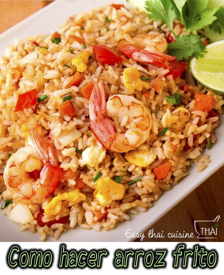 Como hacer arroz frito con gambas estilo tailandés paso a paso!