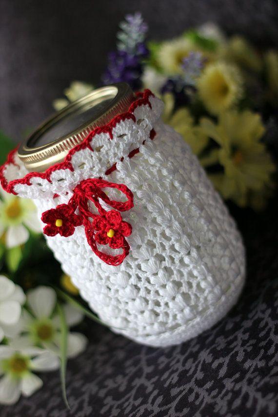 Great gift idea... Crochet White and red  Mason Jar cozy. $12.00, via Etsy.