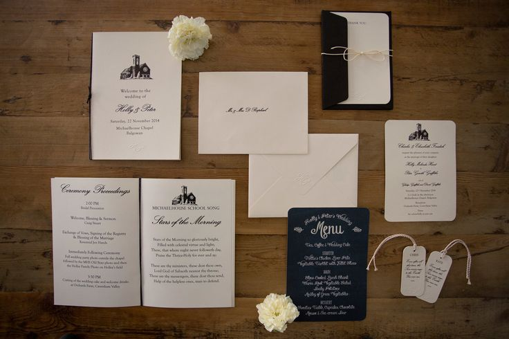 Elegant wedding suite on ivory cotton paper. Embossed detail. Black print. Place-card tags. Order of service. Hand-folded vintage v-shape envelopes with embossing detail. Chalkboard menu. Styling by Jani Venter. Photo by Rikki Hibbert.