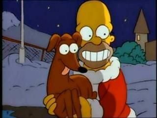 Homer Simpson and Santa's Little Helper