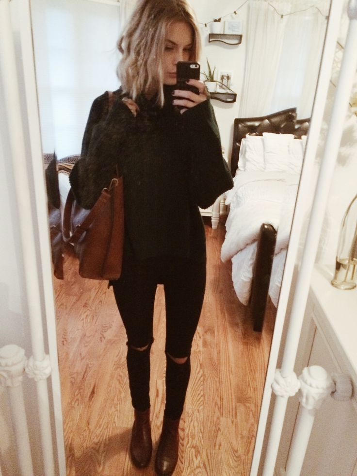 OOTD // Aritzia turtleneck (sister's), Urban black skinnies & brown chelsea boots (BDG) happy Monday babes ily!