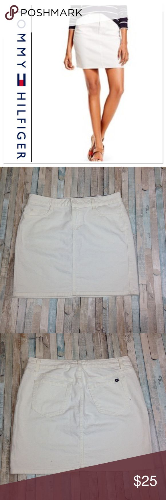 TOMMY HILFIGER WHITE DENIM MINI SKIRT Great condition!! Super trendy right now, only worn a couple of times. Has four functioning pockets and loops for a belt. Refer to picture for measurements. Size 6. Have any questions? I bet I have answers so feel free to ask!!! Tommy Hilfiger Skirts Mini