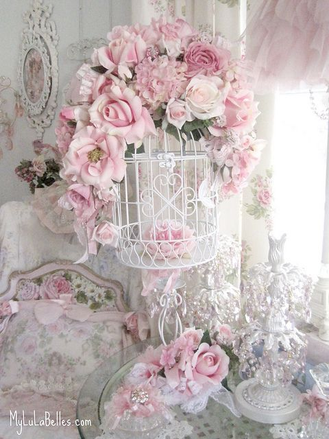 Pink Crystal Rose Birdhouse by mylulabelles, via Flickr. Full of Shabby Chic, pink, lace, antiques, even some Dresden lace figurines.