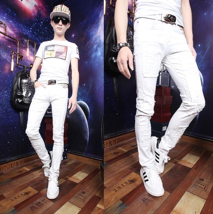 Personality white men skinny pants rivet hole pant men feet trousers casual fashion pantalon homme 2017 summer classic new