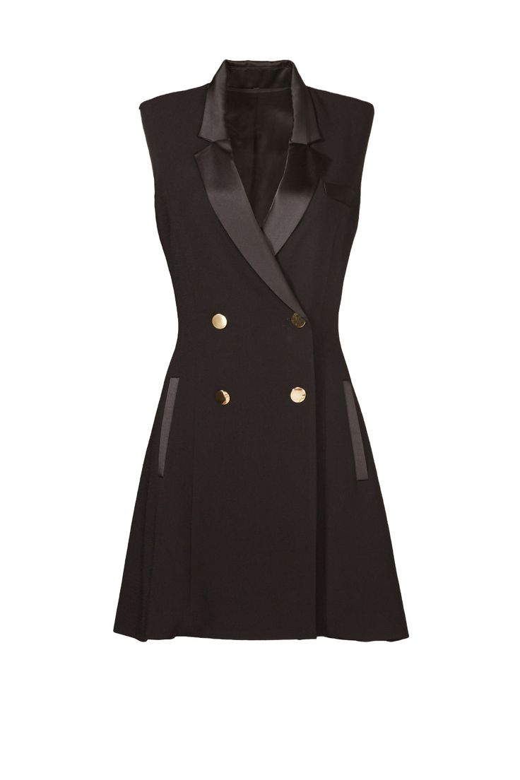 replace buttons on black shift dress with gold buttons