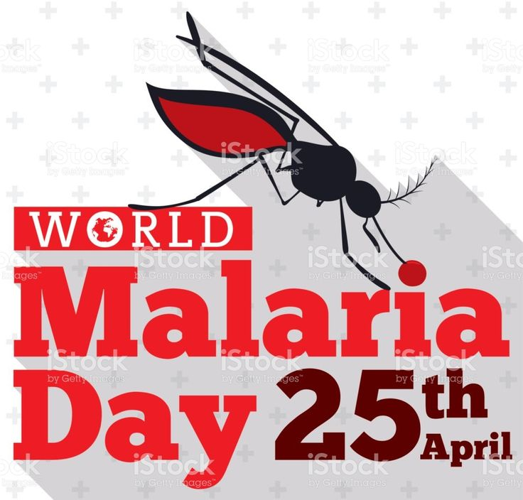 Mosquito Silhouette Biting the World Malaria Day Sign