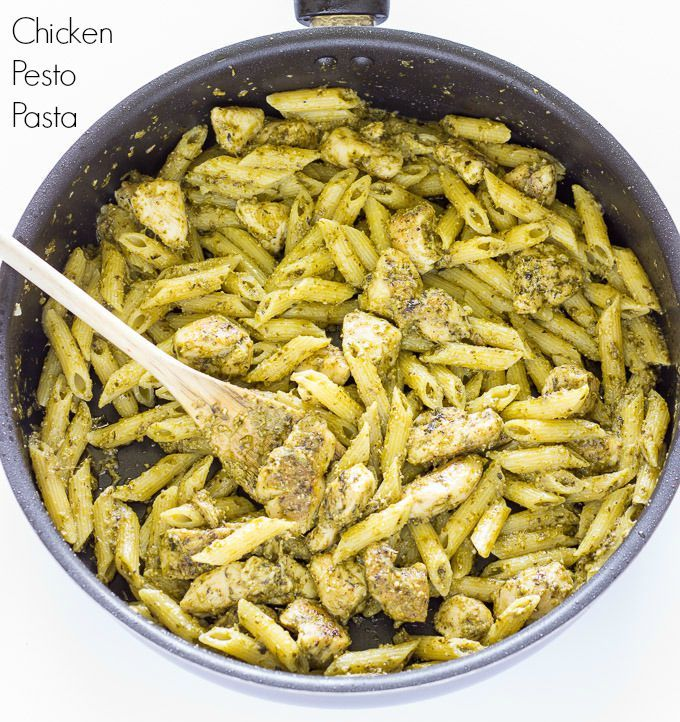 Chicken Pesto Pasta - Such an easy dinner recipe that comes together in no time! Chunks of chicken with pasta in a pesto sauce.
