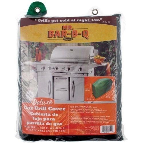 Mr. Bar.B.Q 07002XEF Mr. Bar.B.Q Deluxe Large Gas Grill Cover - Supports Grill - Hook & Loop Closure, Lead-free - Flannel, Vinyl