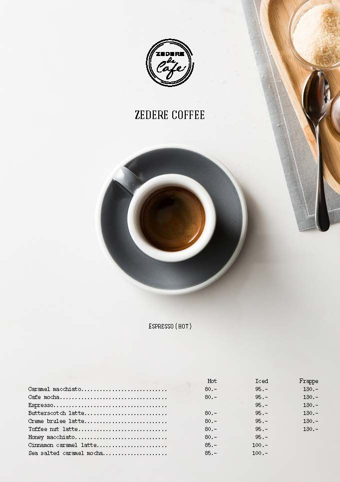 Zedere Cafe menu - Design by Wajana                                                                                                                                                     More