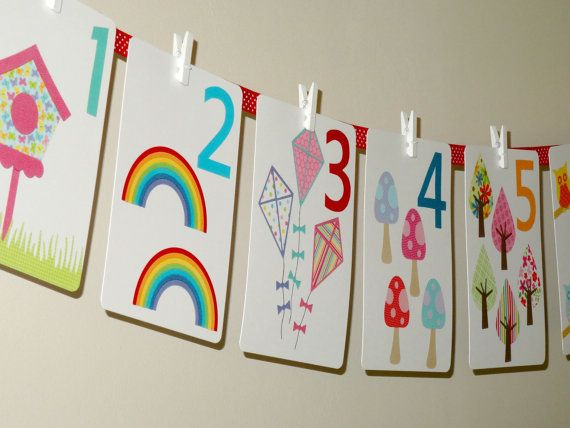 Alphabet wall cards and girls number wall by littlemasterpeaces