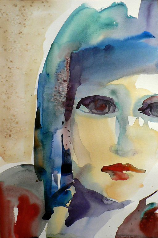 "Sylvia Baldeva; Watercolor, 2009, Painting ""Woman with red lips"""