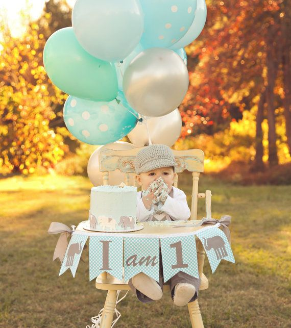 1st Birthday Boy I Am One Highchair Banner 1 High Chair First Elephant