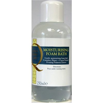 Moisturising Foam Bath - A moisturising foam bath to gently cleanse and moisturise the skin, leaving it feeling smooth and silky. Contains honey, carrot extract and evening primrose oil. Simply pour a cap-full of this delicately fragranced bath soak under running water then simply lay back and relax in the tub!   Not Tested on animals, Lanolin Free.   250ml plastic bottle with screw top lid.   Made and packaged in England
