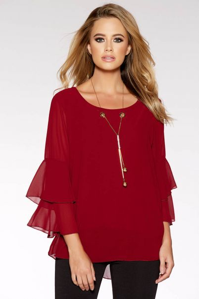 Berry Chiffon Double Frill Necklace Top