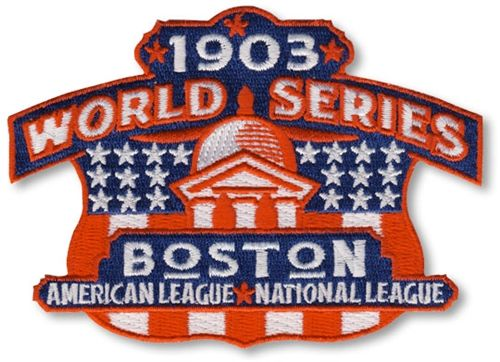 1903 World Series Official MLB Baseball Patch - Boston Pilgrims (Red Sox) over Pirates