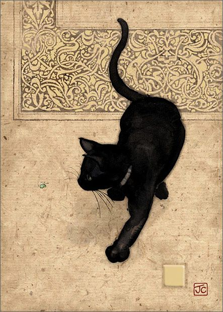 Black Cat by Jane Crowther for Bug Art greeting cards - this card is embossed with gold foil.