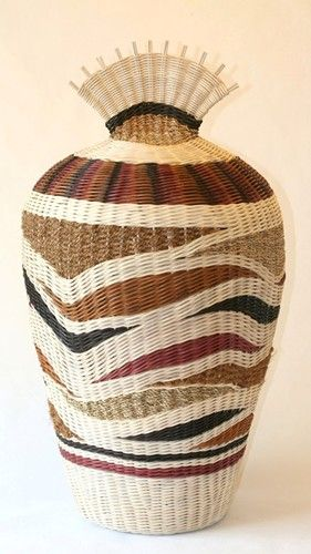 Pat Jeffers   'Shy Maiden'. Hand-dyed and natural reed, coir and seagrass cord