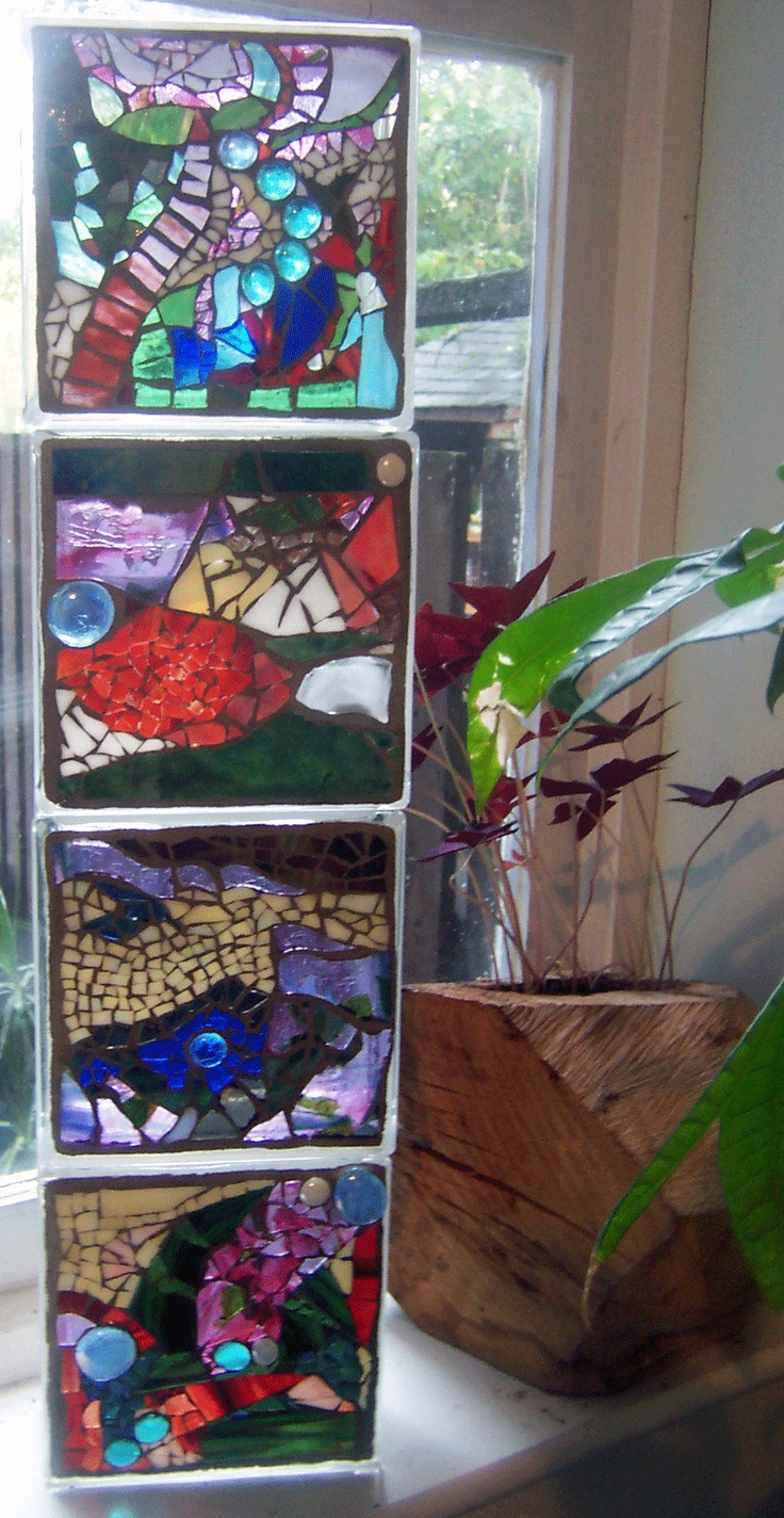 Decorative glass blocks crafts - Stained Glass Mosaic Blocks By Sarah Coleman
