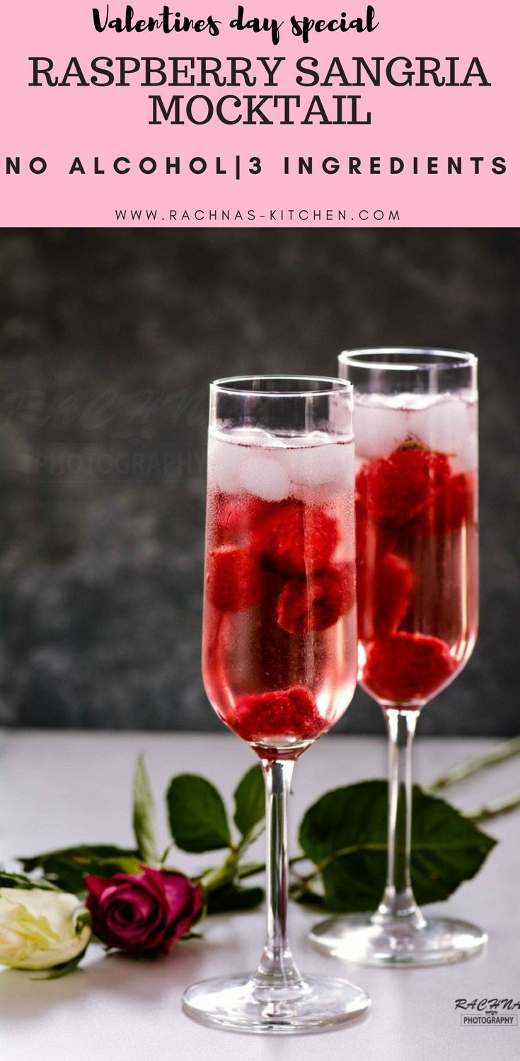 Raspberry Sangria for Valentines Day Celeberation  https://www.rachnas-kitchen.com/raspberry-sangria-mocktail-recipe/  #valentinesdayrecipes #valentinerecipeideas #sangria #mocktail
