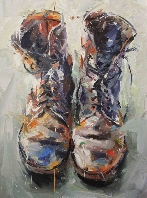 : Color, Paul Wright, Old Boots, Studios Boots, Brushes Strokes, Old Shoes, Shoes Art, Painting, Combat Boots