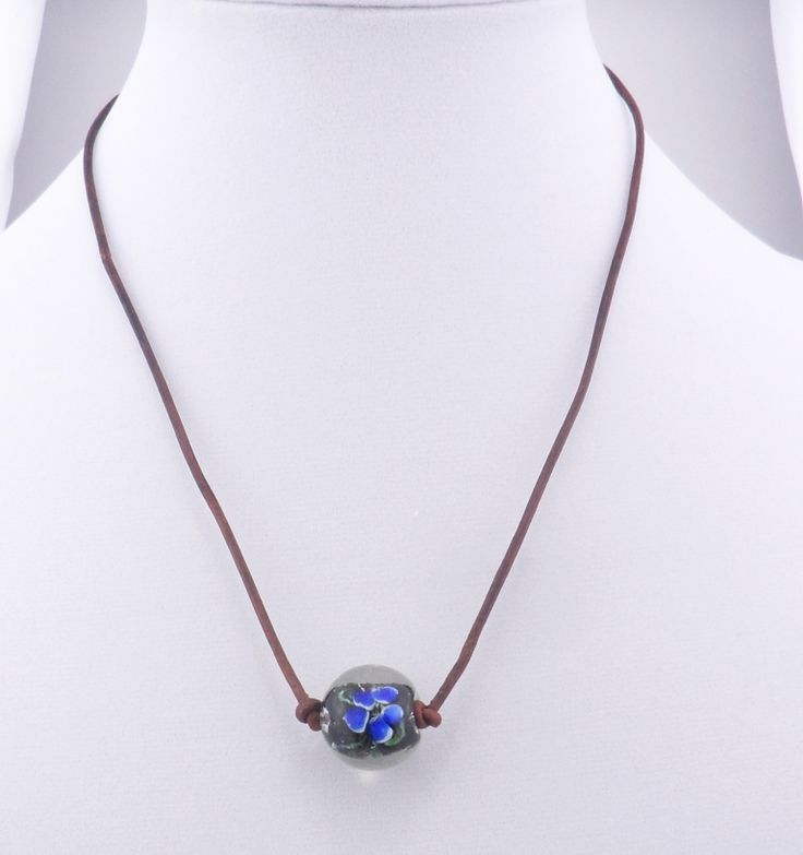 """Flower Lampwork Bead Leather Cord Necklace 20"""""""