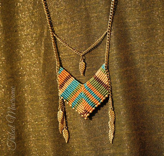 Collar estilo indio americano con macrame cadenas por TribalMacrame