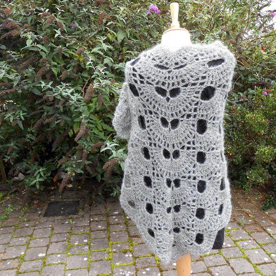 Gray shawl.  Crochet Grey Shawl. Triangular Shawl. Crochet