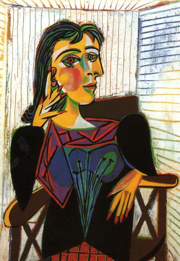 Dora Maar, Picasso, 1937  - Déformation / lignes brisées / surprise / intrigant -  A travers ses différents portraits, Picasso casse les codes des portraits identiques à la réalité en brisant la composition anatomique d'un homme. En cassant les parties du corps et en les déformant et déplaçant Picasso trouble et déshumanise ses modèles.