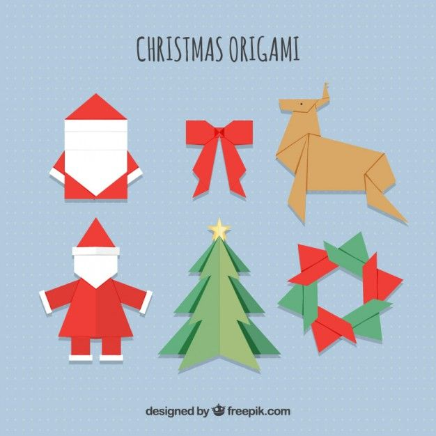 Origami Christmas Icons Free Vector