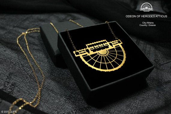 Plan of odeon of Herodes of Atticus in gold for your neck only! Created by #croquisqupa #greekbrandnew #GBN17 #madeinGreece #jewllery
