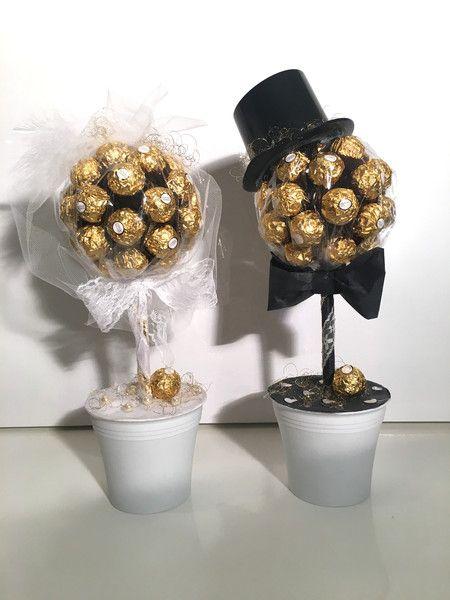 Schokolade & Süßigkeiten – 2x Hochzeit Rocher Trees Braut und Bräutigam – Eve …   – Glückwunsch